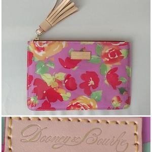 Dooney & Bourke Pink Floral Cosmetic Clutch Tassel